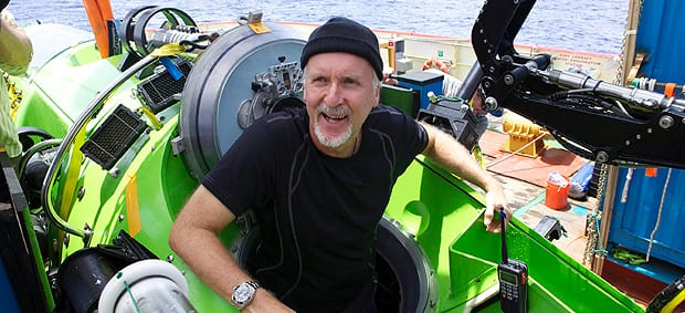 James Cameron emerges from the Deepsea Challenger submersible after his successful solo dive to the Mariana Trench, the deepest part of the ocean, Monday March 26, 2012. (Mark Theissen/National Geographic/AP Photo)