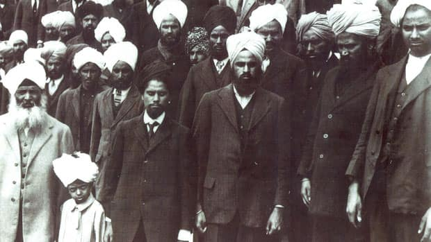 Passengers aboard the Komagata Maru when it arrived in Vancouver harbour on May 23, 1914. Passengers were dressed to go ashore. They were never allowed to leave the ship.