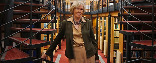Margaret MacMillan in the St. Antony's College library in Oxford, England, where she is Warden. MacMillan is an expert on World War I and frequently lectures on the subject in conferences around the world. (Lefteris Pitarakis/The Associated Press)