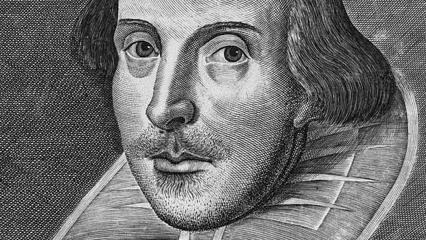 Portrait of William Shakespeare engraved by Martin Droeshout.