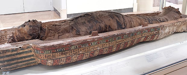 A 3,000 year old mummy as displayed at the Royal Ontario Museum. Photo credit: ROM.