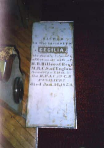 Cecilia Hillcoat's grave in St John Anglican Church.JPG