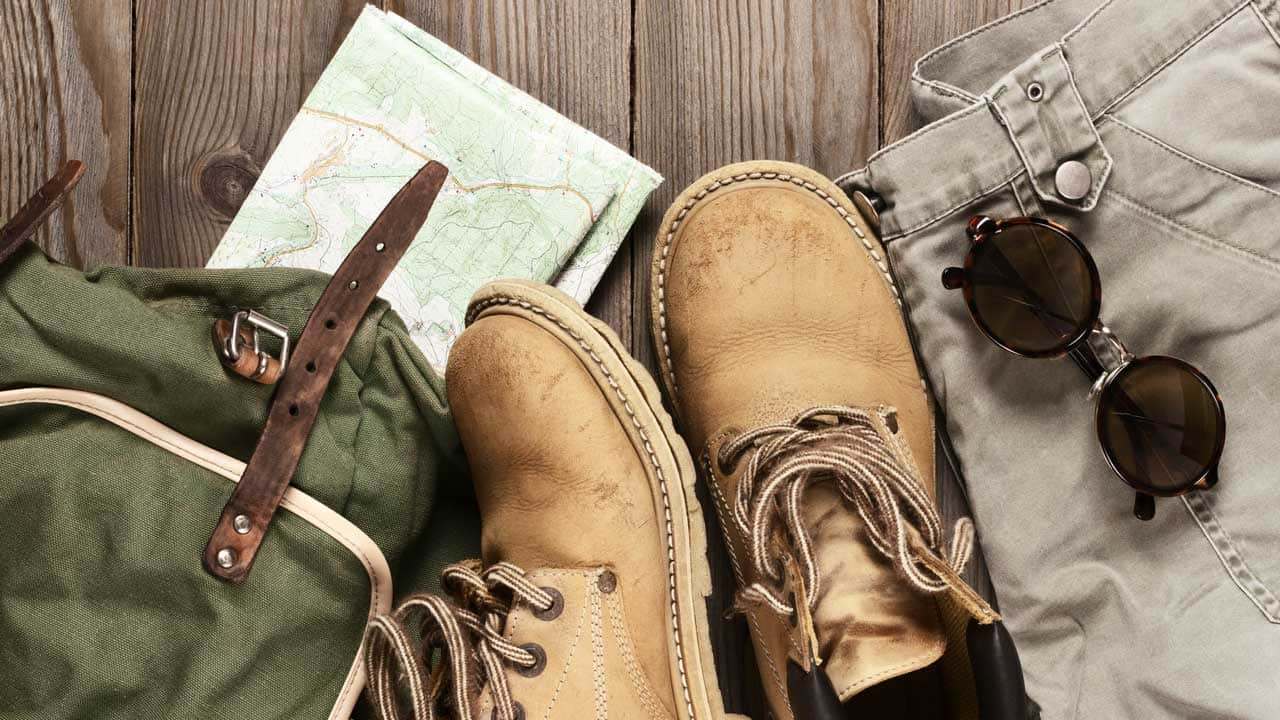 hiking gear: boots, backpack