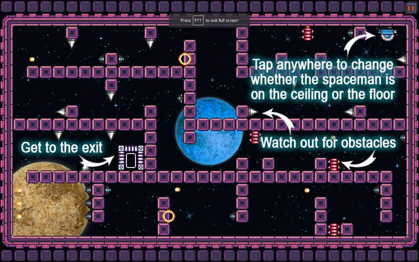 Instructions for Gravity Escape (screen capture)