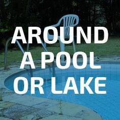 Around a pool or lake
