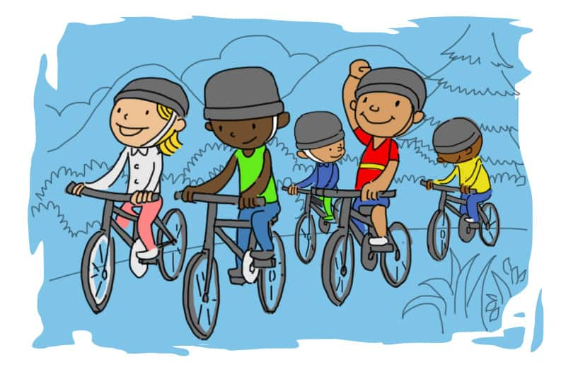 kids riding bikes!