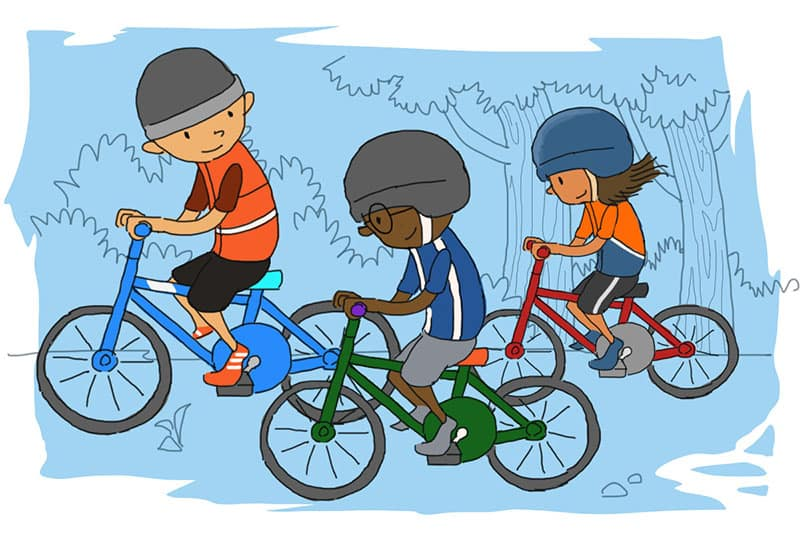 kids riding with friends