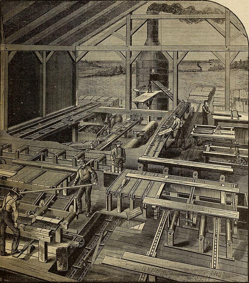 An illustration of an old lumber mill