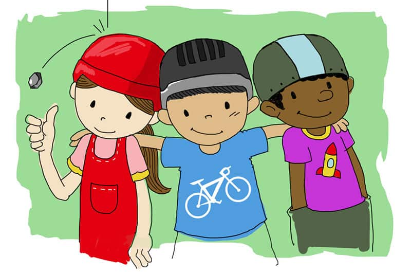 kids wearing helmets