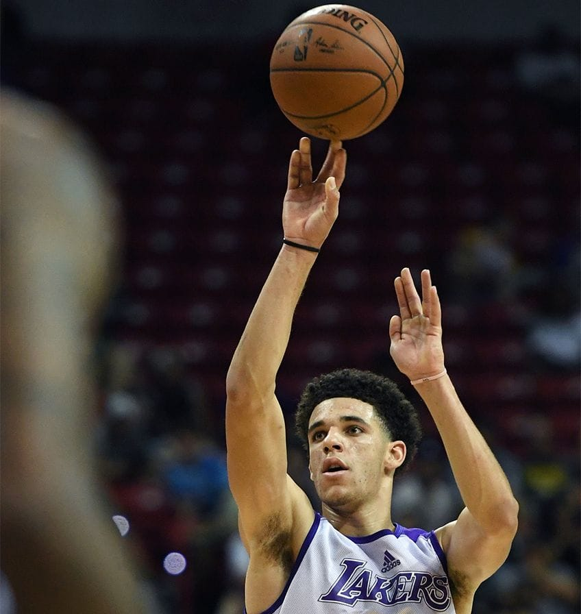 Lonzo Ball #2 of the Los Angeles Lakers shoots a 3-pointer against the Philadelphia 76ers during the 2017 Summer League.