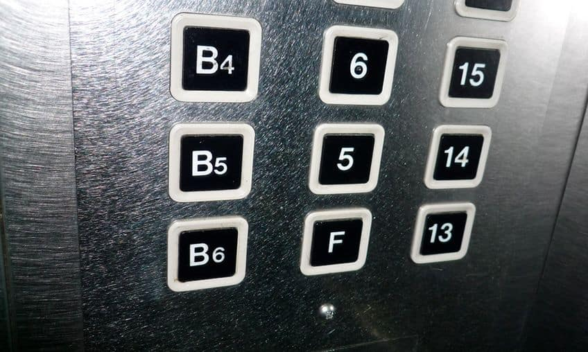 elevator buttons without the number four