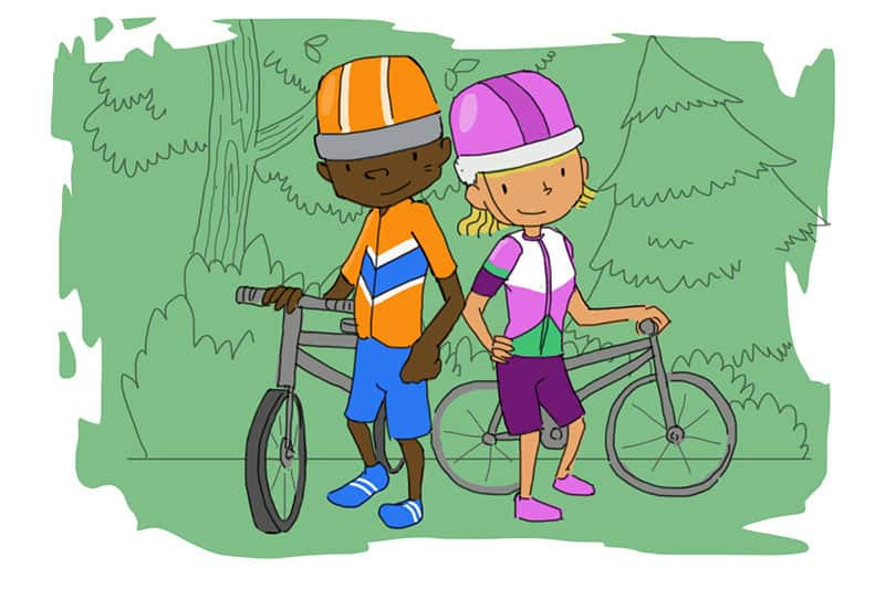 kids wear bright colours when cycling