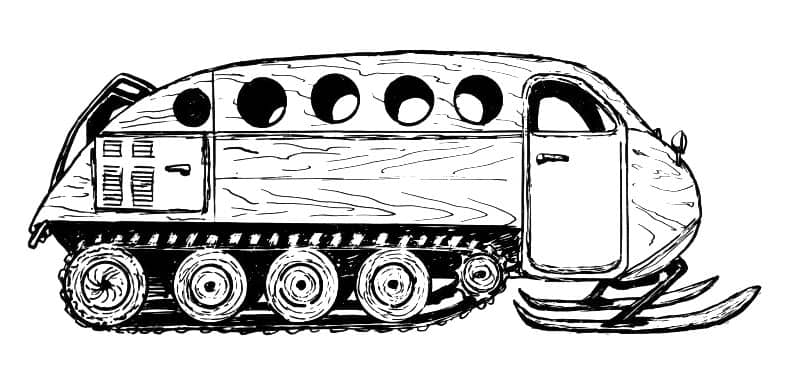 an original sketch for one of the first Bombardier snow vehicles