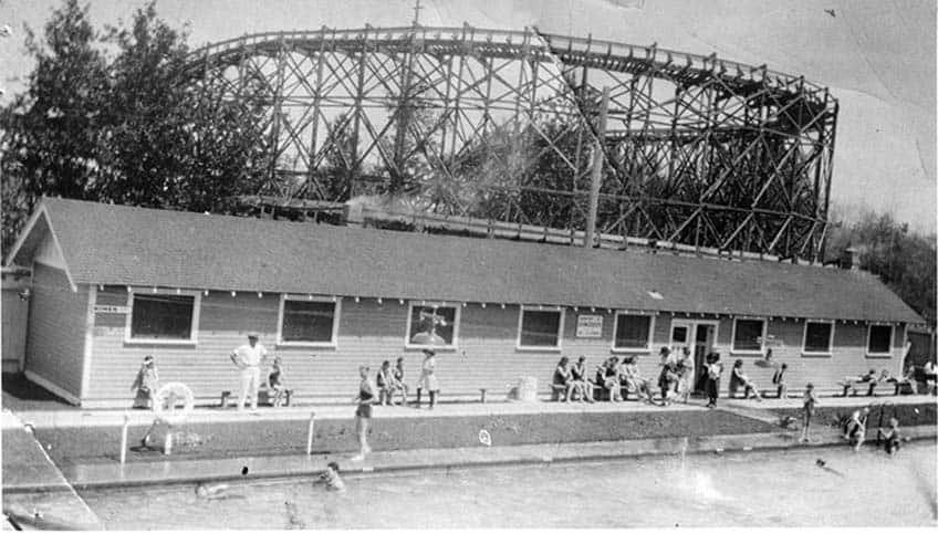 A picture of Borden Park pool from 1925 in Edmonton, Alberta.