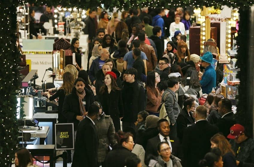 Shoppers gather in a store on Boxing Day