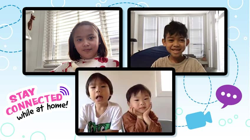 Kids on video chat while at home with text: stay connected while at home!