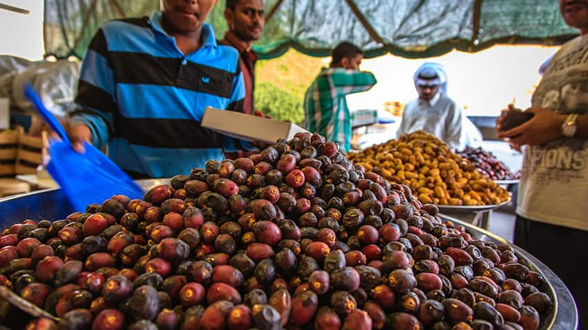 A man scoops up fresh dates in an open-air market.