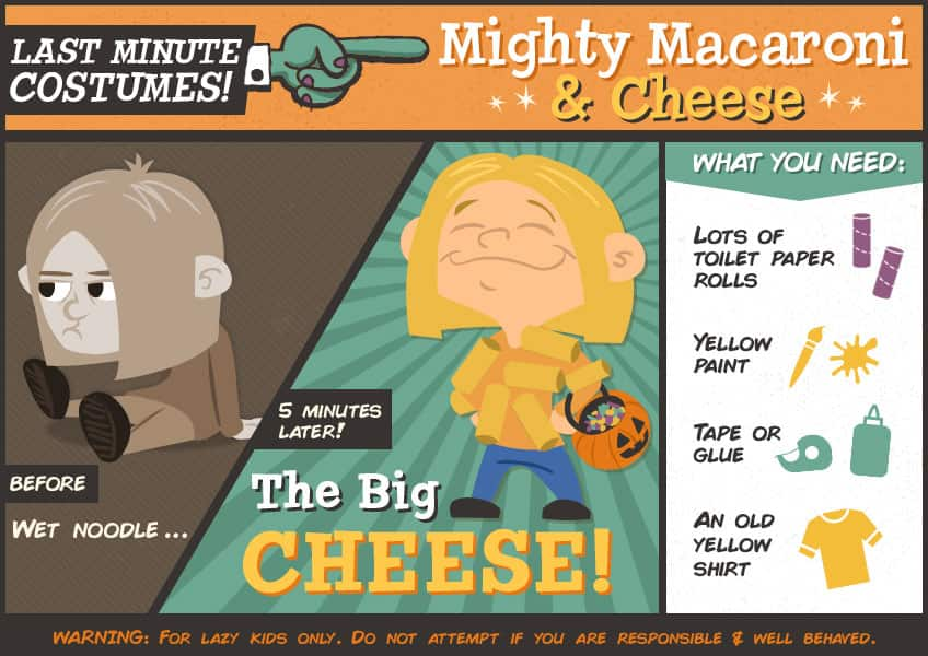 Macaroni and cheese costume using toilet paper rolls and yellow paint and tape
