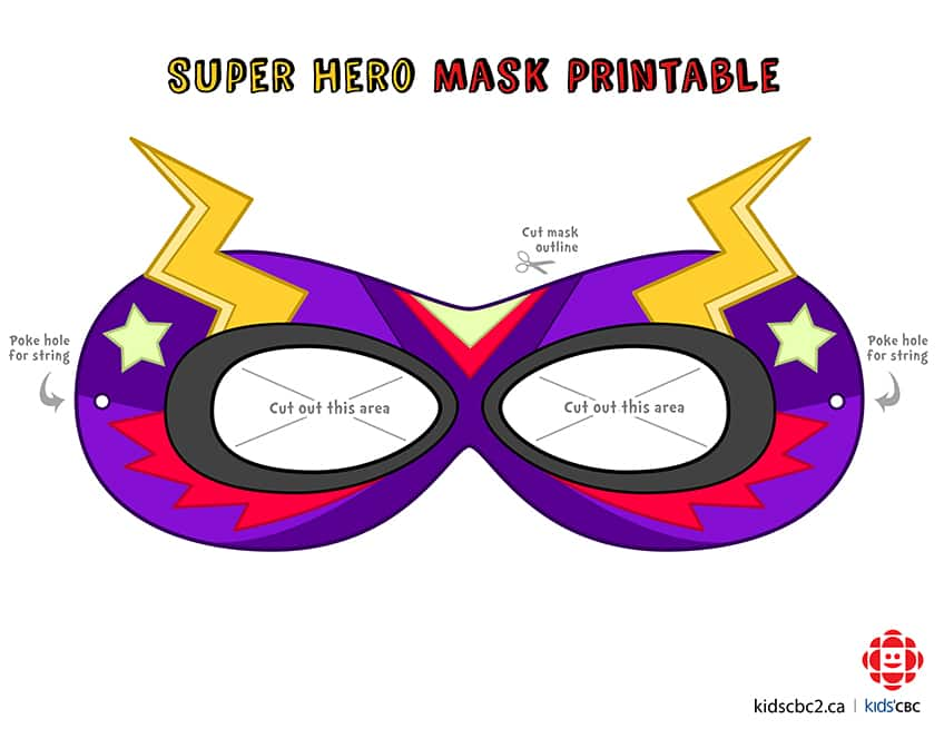 Click to download superhero mask template 1, already coloured in
