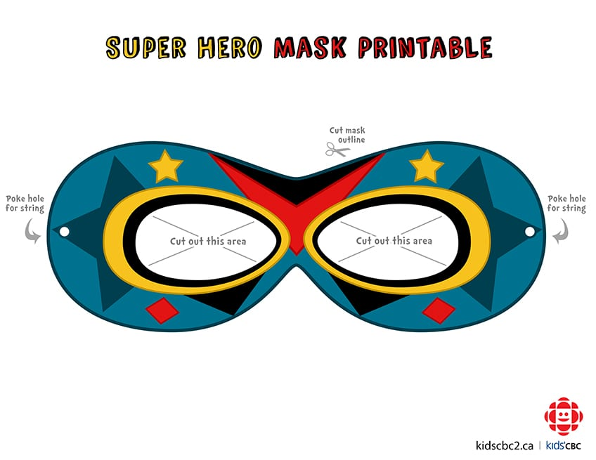 Click to download superhero mask template 2, coloured in