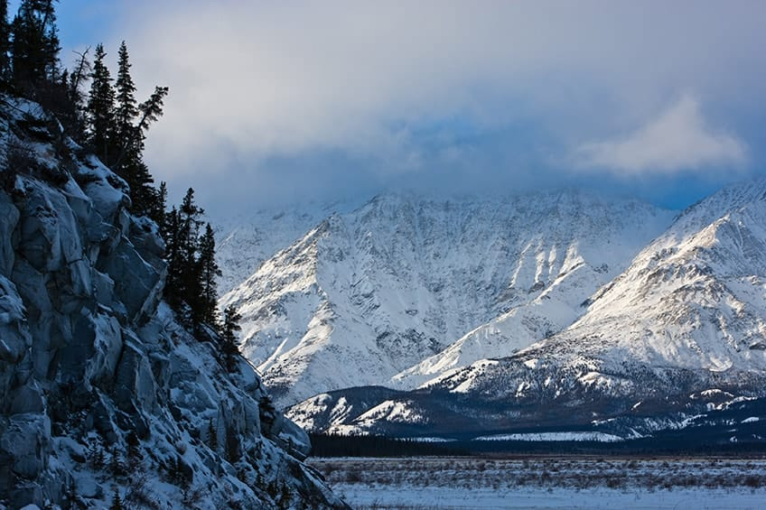 snow covered mountains in Kluane National Park