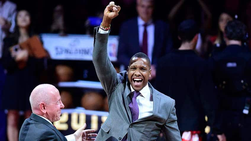 Toronto Raptors president Masai Ujiri receives his 2019 NBA championship ring.
