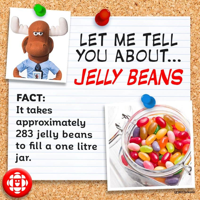 FACT: Approximately 283 jelly beans fit in a one litre jar