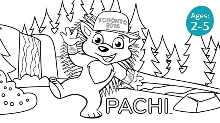 Printable PACHI colouring page 1 | Activities | Toronto 2015 Pan Am ...