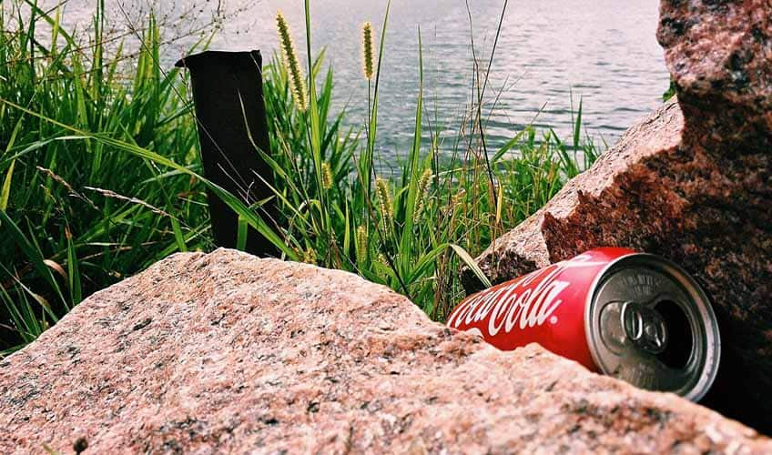 A can discarded in nature