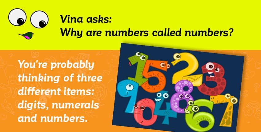 Vina asks why numbers are called numbers - that's actually a complicated answer