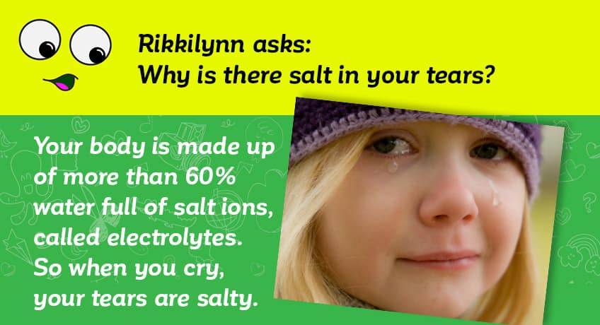 Rikkilynn asks why there is salt in your tears - your body is made up of more than 60 per cent water full of salt ions called electrolutes so when you cry your tears are salty