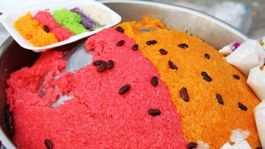 Xôi ba màu or rainbow-coloured rice from Vietnam.