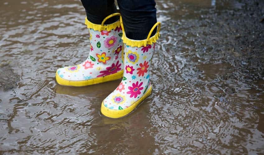 Someone wearing rubber boots in a puddle