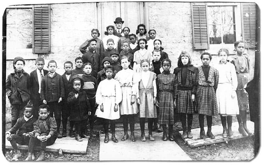 Black students of King Street School in Amherstburg, Ontario with their teacher, J. H. Alexander, [ca. 1890s]