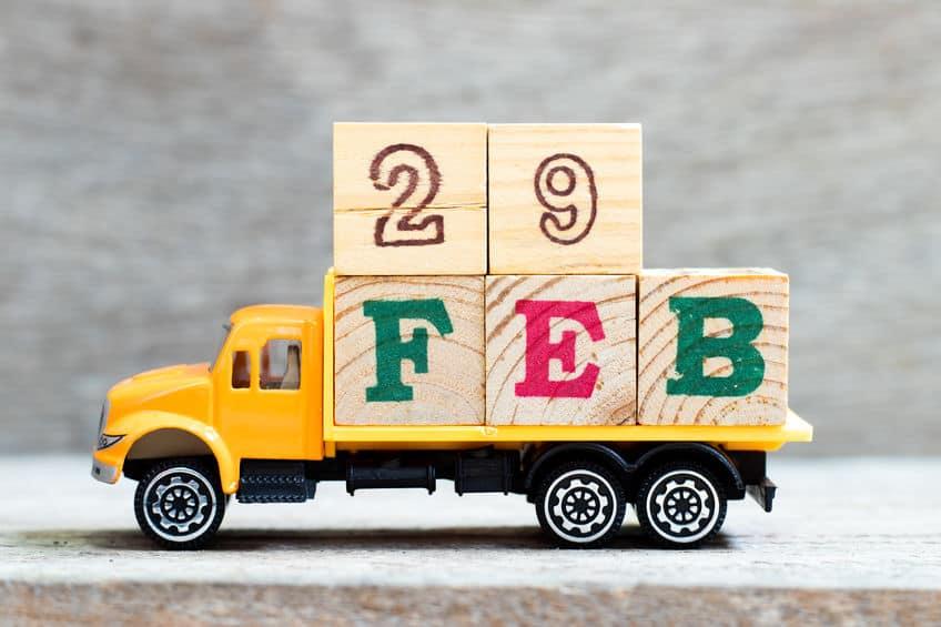 February 29 in blocks on a little truck
