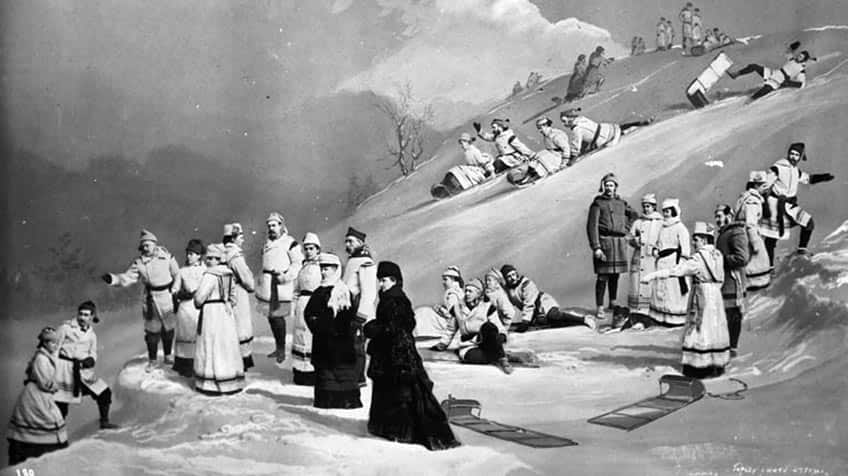Black and white painting of adults dressed up while tobogganing on white hills.
