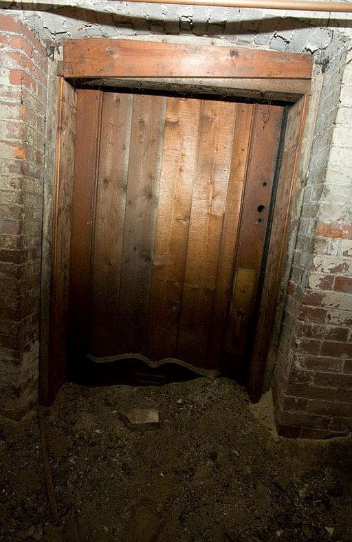 A door in a tunnel which runaway slaves could hide.