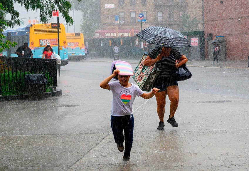 People running from rain