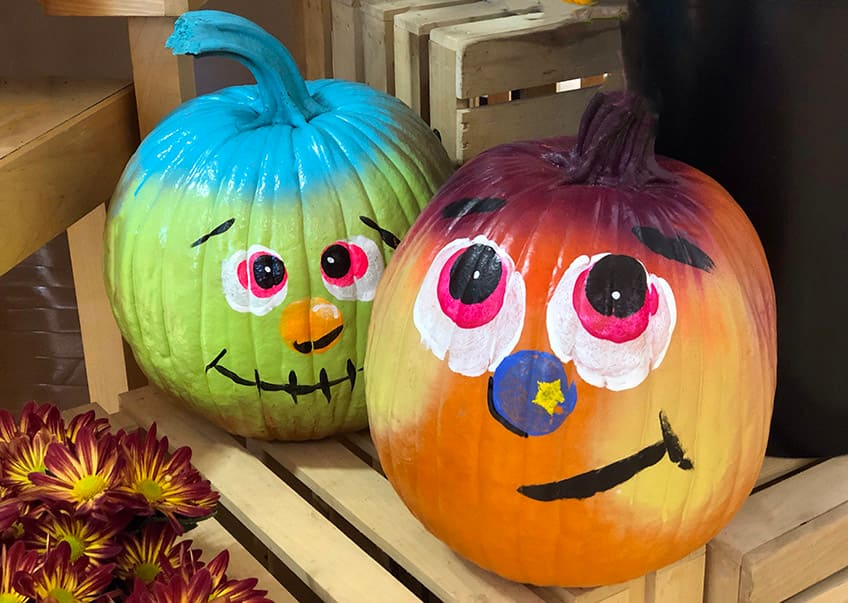 painted pumpkins with silly faces