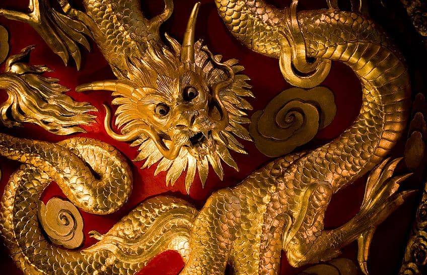 gold chinese dragon decoration