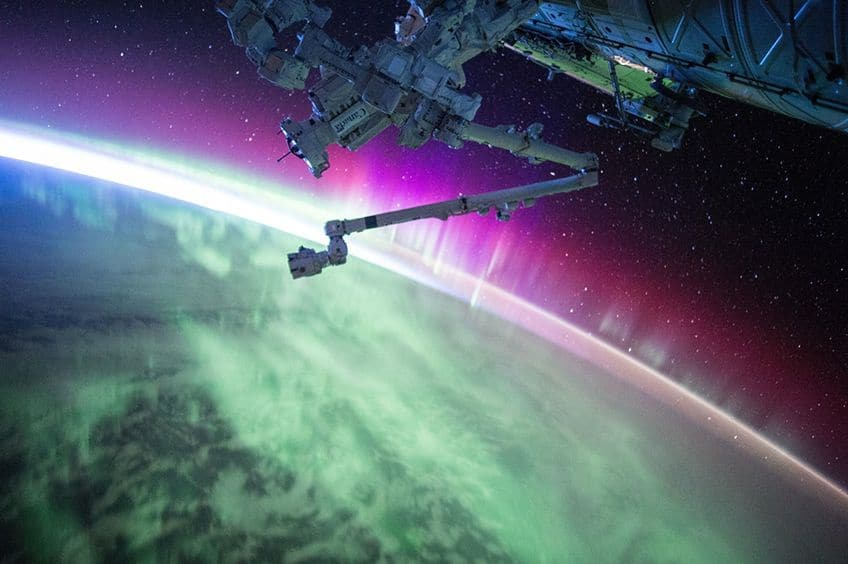 a view of the aurora borealis from space