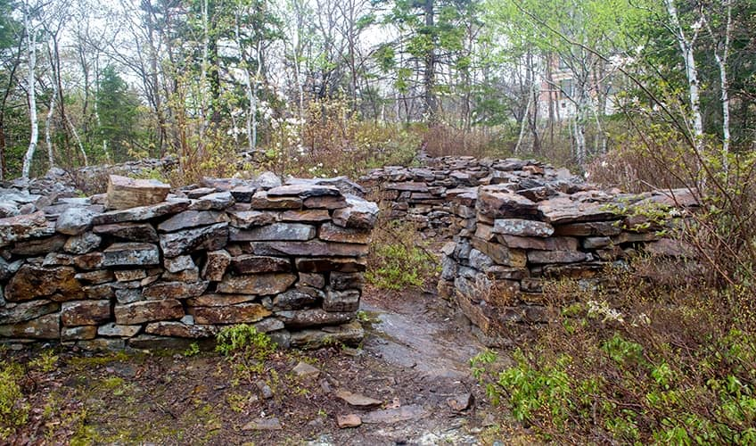 remnants of wall at Bayer's Lake