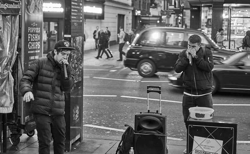 Two beatboxers on the streets of London