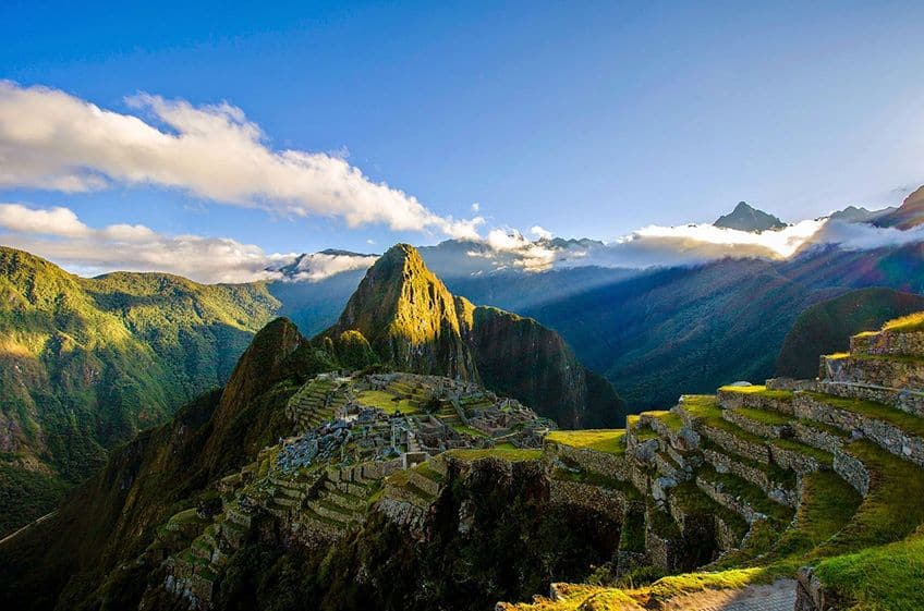 the ruins of macchu picchu from above
