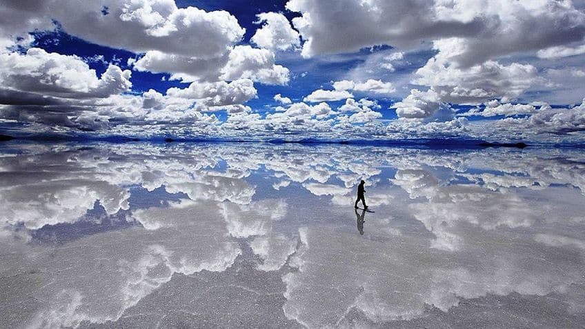 someone walking over the salt flats