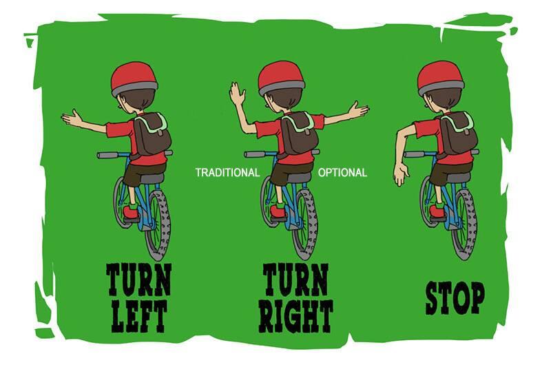 bike hand signals as described in text below