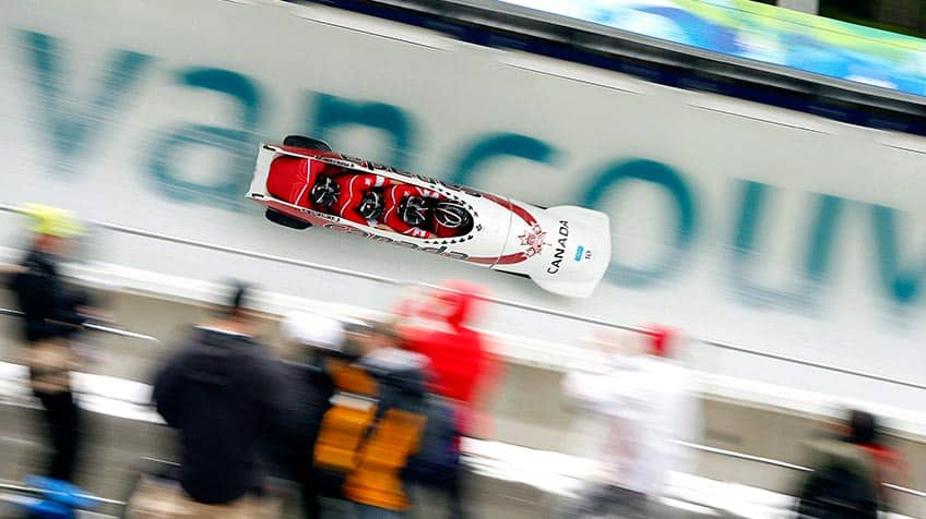 Canadian's bobsledding team going at mind-blowing speed on the track at Vancouver's Winter Olympics.