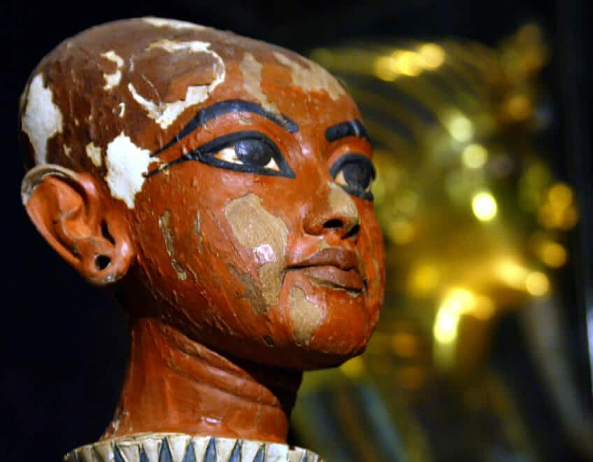 A sculpture of what is believed to be how King Tut's face looked