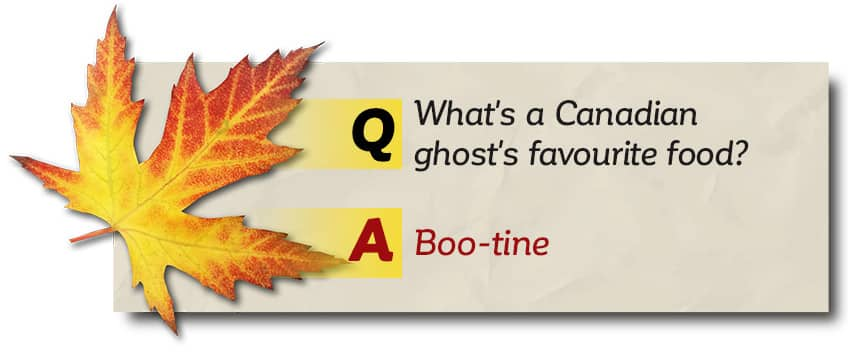 What's a Canadian ghost's favourite food? Boo-tine