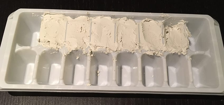mixture in ice cube tray